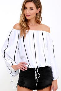 Faithfull the Brand Cult Ivory Striped Off-the-Shoulder Top at Lulus.com!