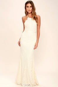 Zenith Cream Lace Maxi Dress at Lulus.com!
