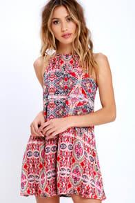 Design Major Red Print Swing Dress at Lulus.com!