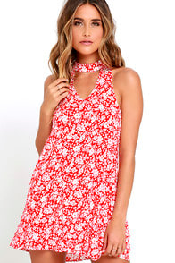 Lean Close Ivory and Red Floral Print Swing Dress at Lulus.com!