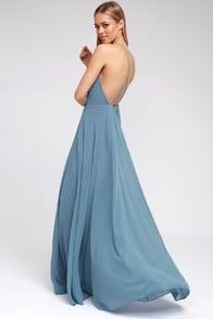 Mythical Kind of Love Slate Blue Maxi Dress at Lulus.com!