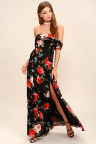 I Care Black Floral Print Off-the-Shoulder Maxi Dress at Lulus.com!