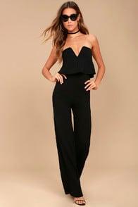 Power of Love Black Strapless Jumpsuit at Lulus.com!