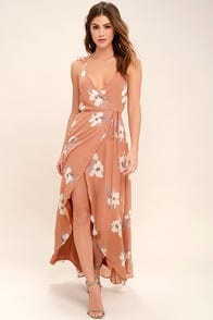 All Mine Rusty Rose Floral Print High-Low Wrap Dress at Lulus.com!