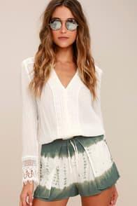 Let's Explore Sage Green Tie-Dye Shorts at Lulus.com!