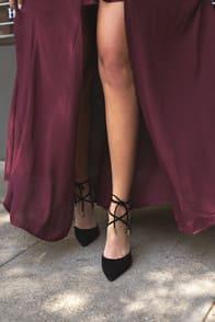 Dani Black Suede Lace-Up Heels at Lulus.com!