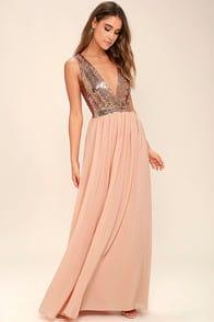Elegant Encounter Rose Gold Sequin Maxi Dress at Lulus.com!