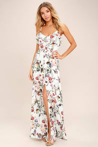 Bloom On Ivory Floral Print Maxi Dress at Lulus.com!