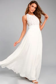 Forever and Always White Lace Maxi Dress at Lulus.com!