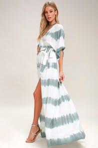 LA CONCHA DUSTY SAGE TIE-DYE WRAP MAXI DRESS at Lulus.com!