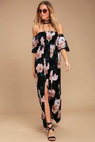 Primrose Princess Black Floral Print Off-the-Shoulder Maxi Dress at Lulus.com!