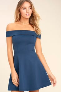 Season of Fun Denim Blue Off-the-Shoulder Skater Dress at Lulus.com!