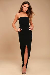 Own The Night Black Strapless Maxi Dress at Lulus.com!