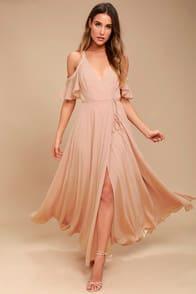 Easy Listening Blush Off-the-Shoulder Wrap Maxi Dress at Lulus.com!