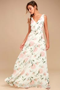 Romantic Possibilities White Floral Print Maxi Dress at Lulus.com!