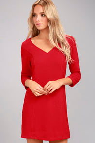 JACK BY BB DAKOTA LUTHER RED LONG SLEEVE DRESS at Lulus.com!
