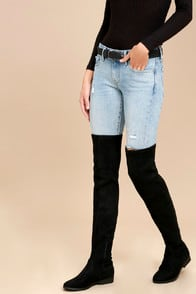 Racy Black Suede Over the Knee Boots at Lulus.com!