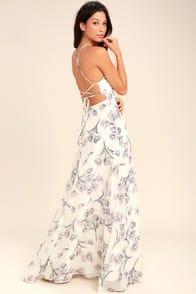 Adventure Seeker Cream Floral Print Maxi Dress at Lulus.com!