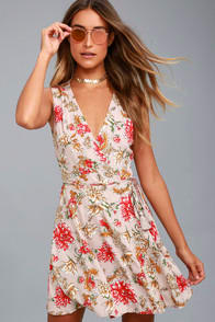 Best In Bloom Blush Floral Wrap Dress at Lulus.com!