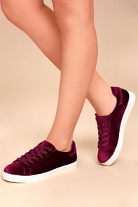 CIRCUS BY SAM EDELMAN CAPRICE CRANBERRY VELVET SNEAKERS at Lulus.com!