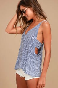 Adrift Navy Blue and White Striped Tank Top at Lulus.com!