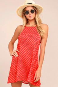 Abracadabra Red Print Shift Dress at Lulus.com!