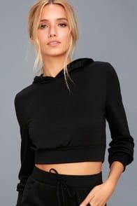 mickey black cropped hoodie at Lulus.com!