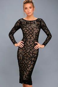Mila Black Sequin Long Sleeve Midi Dress at Lulus.com!