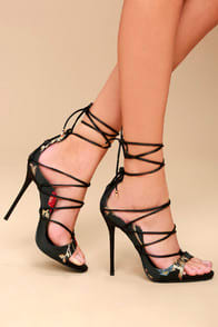 Party Anthem Multi Floral Brocade Lace-Up Heels at Lulus.com!