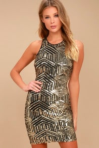 Royal Flush Black and Gold Sequin Bodycon Dress at Lulus.com!