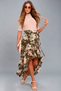 Tiffany Olive Green Floral Print High-Low Wrap Skirt at Lulus.com!