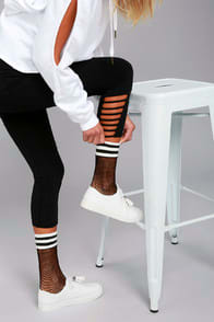 Free People Riot Sport Black Striped Fishnet Socks at Lulus.com!