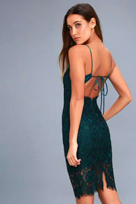 EXTRAORDINARY LOVE FOREST GREEN LACE MIDI DRESS at Lulus.com!