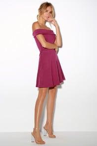 Season of Fun Magenta Off-the-Shoulder Skater Dress at Lulus.com!