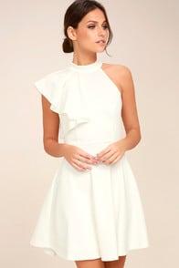 Chic Goals White One-Shoulder Skater Dress at Lulus.com!
