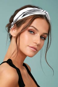 Away to Aruba Black and White Striped Headband at Lulus.com!