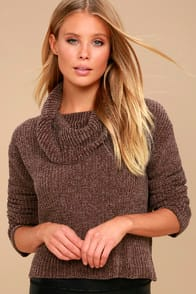 Snuggle Central Taupe Chenille Cowl Neck Sweater at Lulus.com!