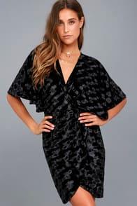 Mesmerize on the Prize Black Velvet Wrap Dress at Lulus.com!