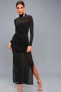 Silver Linings Black Long Sleeve Maxi Dress at Lulus.com!