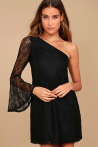 COME TO PLAY BLACK LACE ONE-SHOULDER DRESS at Lulus.com!