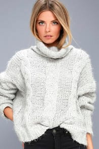 Cozy Down Light Grey Knit Turtleneck Sweater at Lulus.com!