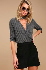 Shenandoah Black Suede Mini Skirt at Lulus.com!