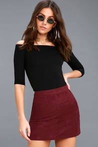 Shenandoah Burgundy Suede Mini Skirt at Lulus.com!