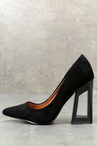kehlani black suede geometric cutout pumps at Lulus.com!