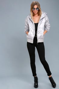 Puffa Hooded Silver Puffer Jacket at Lulus.com!