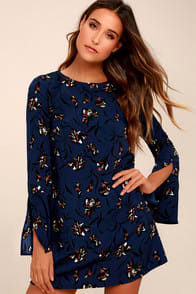 Pleasant Valley Navy Blue Floral Print Long Sleeve Shift Dress at Lulus.com!