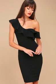 GIVE ME A BEAT BLACK OFF-THE-SHOULDER BODYCON MIDI DRESS at Lulus.com!