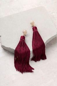Royal Ways Burgundy Tassel Earrings at Lulus.com!
