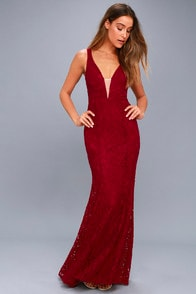 Everly Wine Red Lace Maxi Dress at Lulus.com!