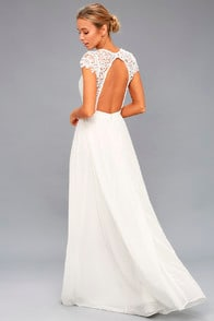 Florianna White Backless Lace Maxi Dress at Lulus.com!